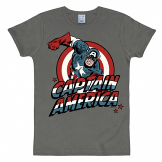 Captain America shirt heren slim fit grijs