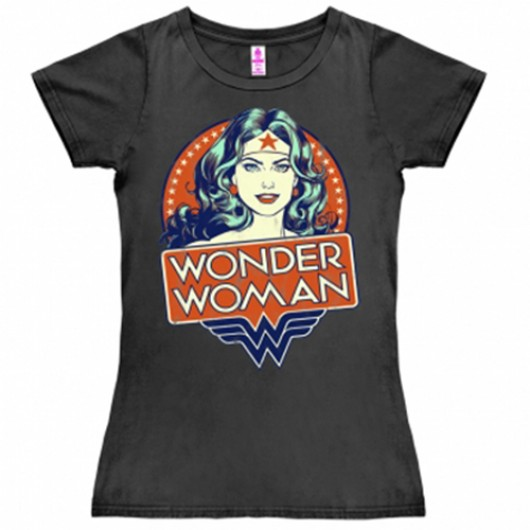 Wonder woman portrait shirt dames