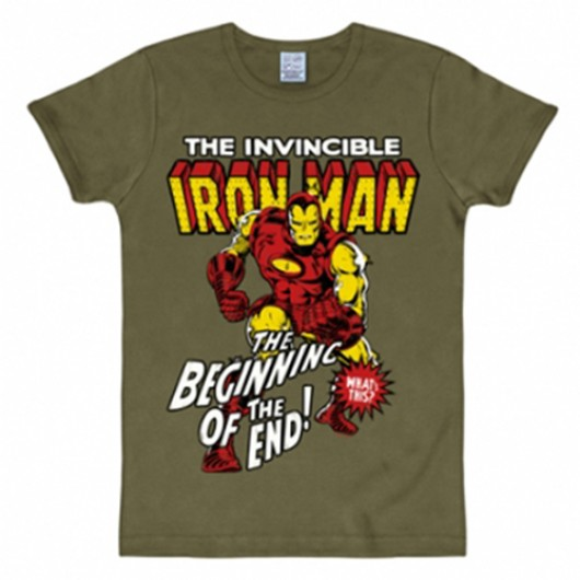 Iron Man shirt heren slim fit olijf