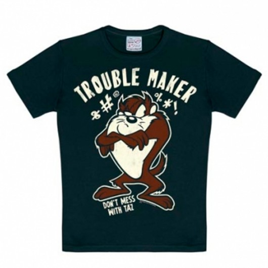Looney Tunes Taz Trouble Maker Logoshirt kinder t-shirt zwart