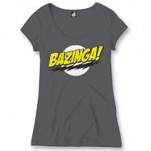 Big Bang Theory Bazinga shirt ronde hals dames grijs