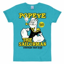 Popeye The Sailorman shirt heren slim fit turquoise